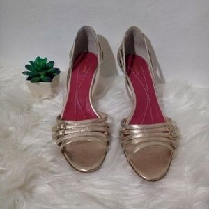 Kate Spade Gold Strappy Peep Toe D'orsay Shoes 8.5